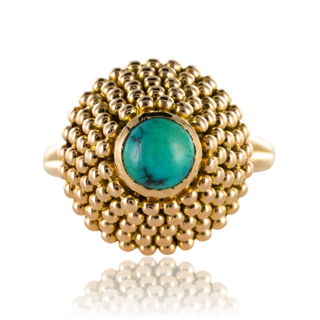 Bague ancienne pyramide turquoise