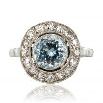 Bague ancienne ronde aiguemarine diamants