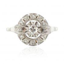 Bague ancienne ronde diamants
