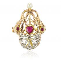Bague ancienne rubis diamants perle