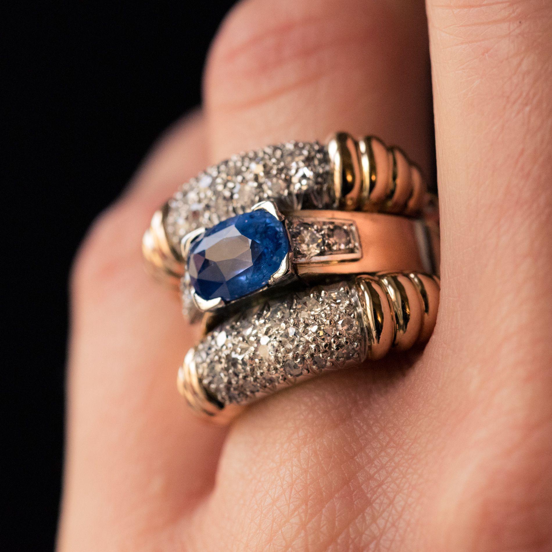 Bague ancienne saphir diamants à godrons