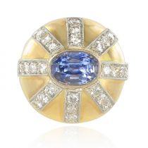 Bague ancienne saphir diamants dôme