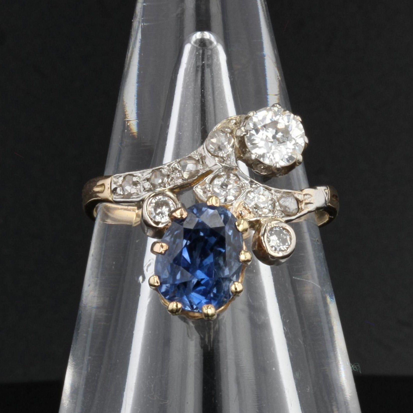 Bague ancienne saphir diamants duchesse