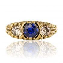Bague ancienne saphir diamants jarretière