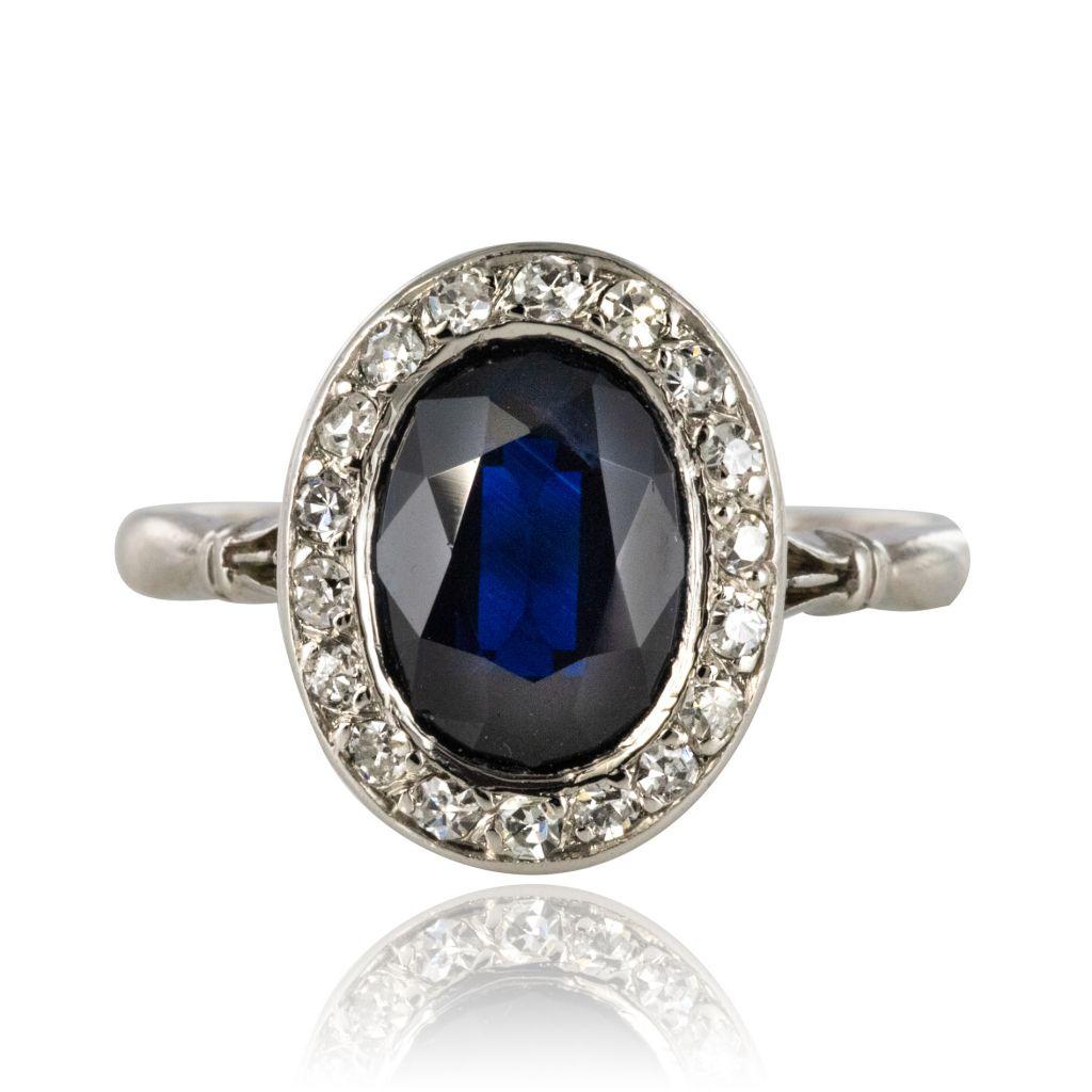 Bague ancienne saphir diamants ovale