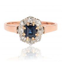 Bague ancienne saphir diamants