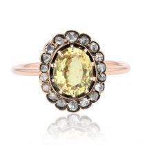 Bague ancienne saphir jaune et diamants