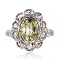 Bague ancienne saphir vert et diamants