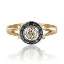 Bague ancienne saphirs calibrés et diamant