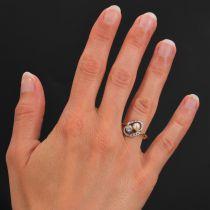 Bague ancienne tourbillon et duo perle fine diamant