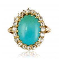 Bague ancienne turquoise cabochon et diamants
