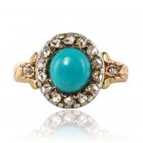 Bague ancienne turquoise diamants