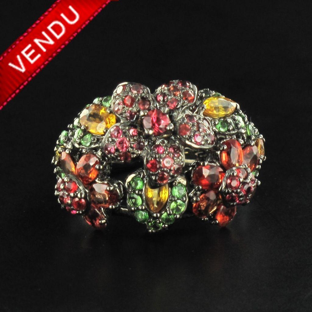 Bague argent pierres précieuses corbeilles de fleurs