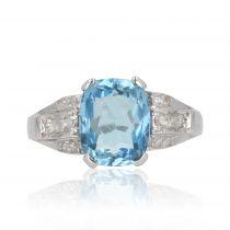 Bague art déco aigue-marine diamants