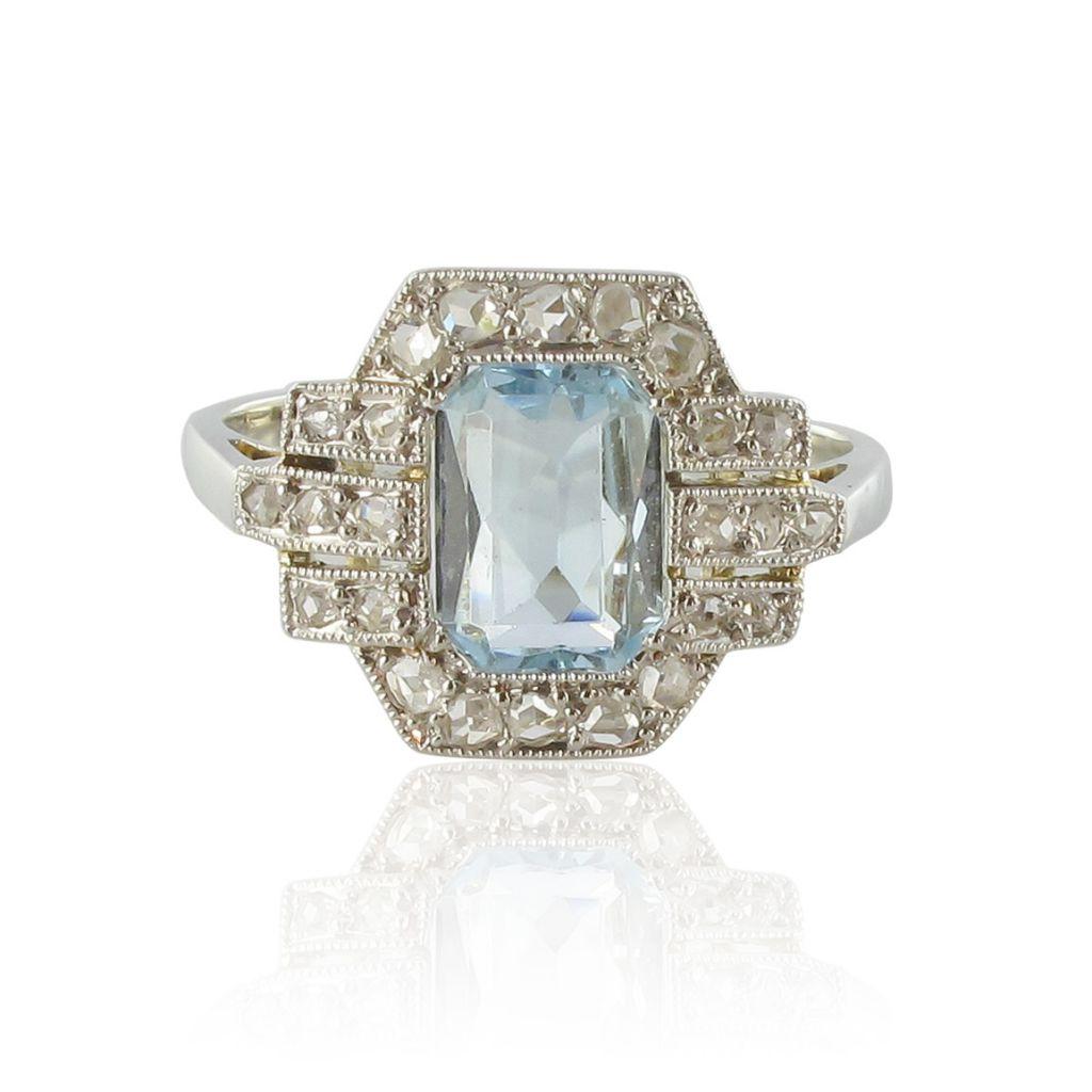 bague art d co aigue marine diamants bijouxbaume. Black Bedroom Furniture Sets. Home Design Ideas