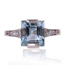 Bague art déco aigue-marine et diamants