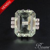 Bague Art déco Aiguemarine et diamants