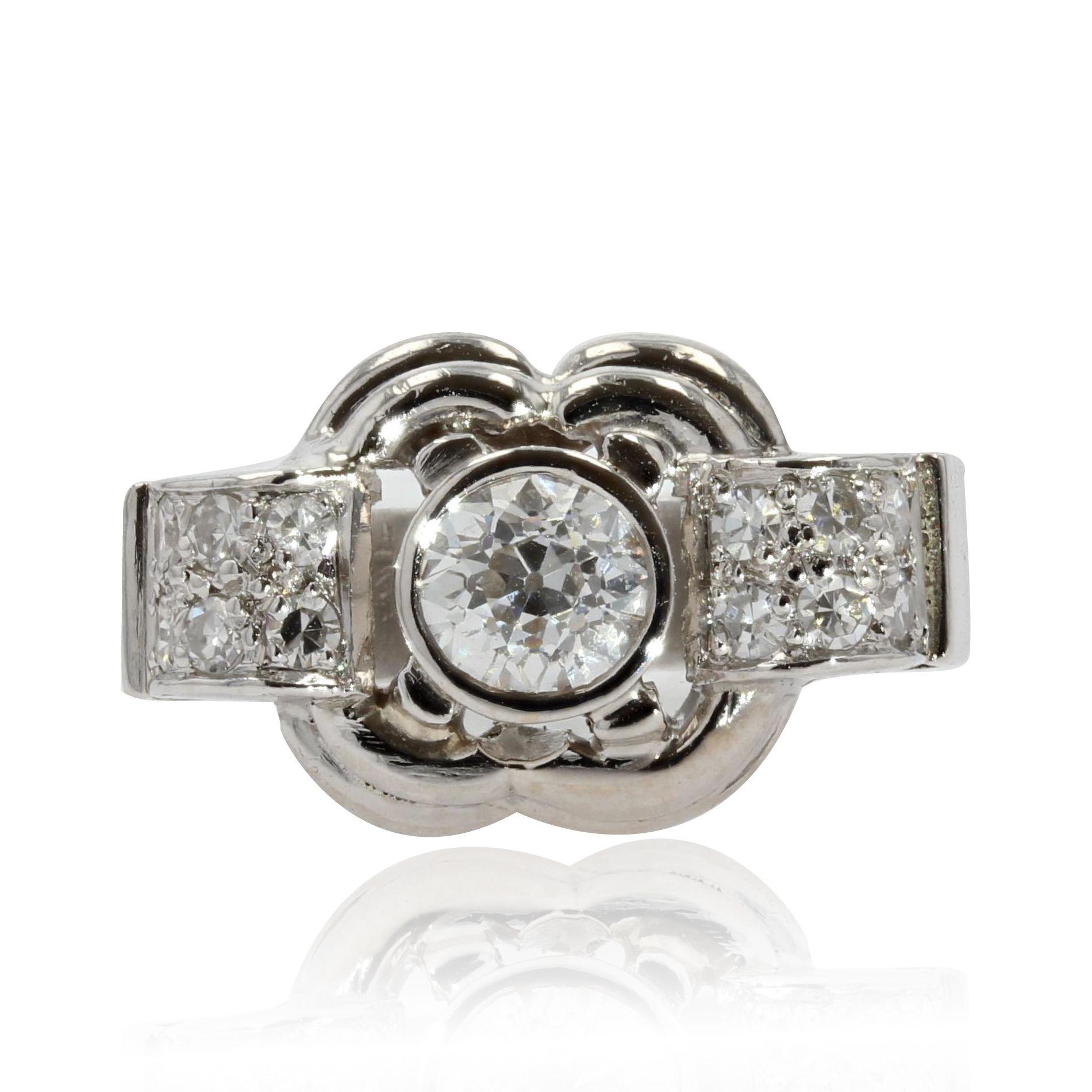 Bague art déco ancienne diamants platine