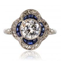 Bague art déco ancienne diamants saphirs