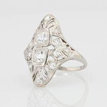 Bague art déco diamants ajourée