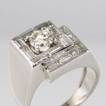 Bague art déco diamants asymétrique