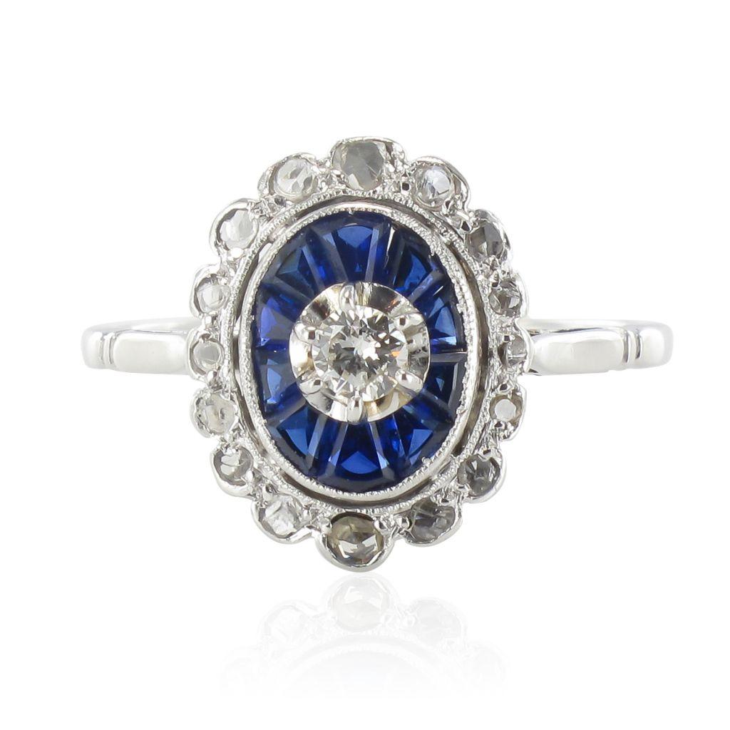 Populaire Bague art déco diamants saphirs IO28