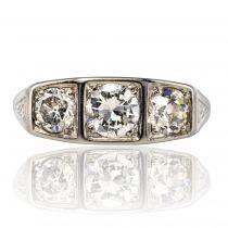 Bague art déco diamants jarretière