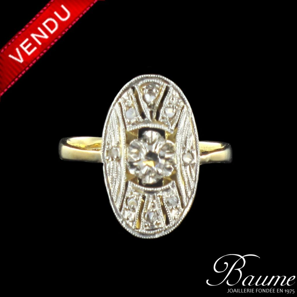 Bague art déco diamants ovale