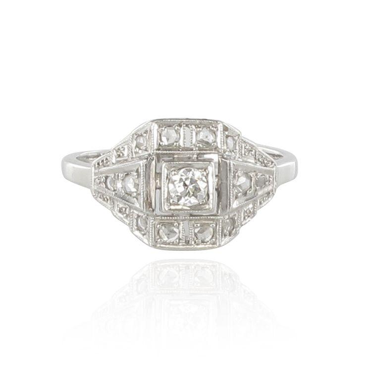 nouveaux styles 2a8ec e9a16 Bague art déco diamants