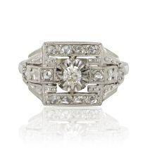 Bague art déco diamants