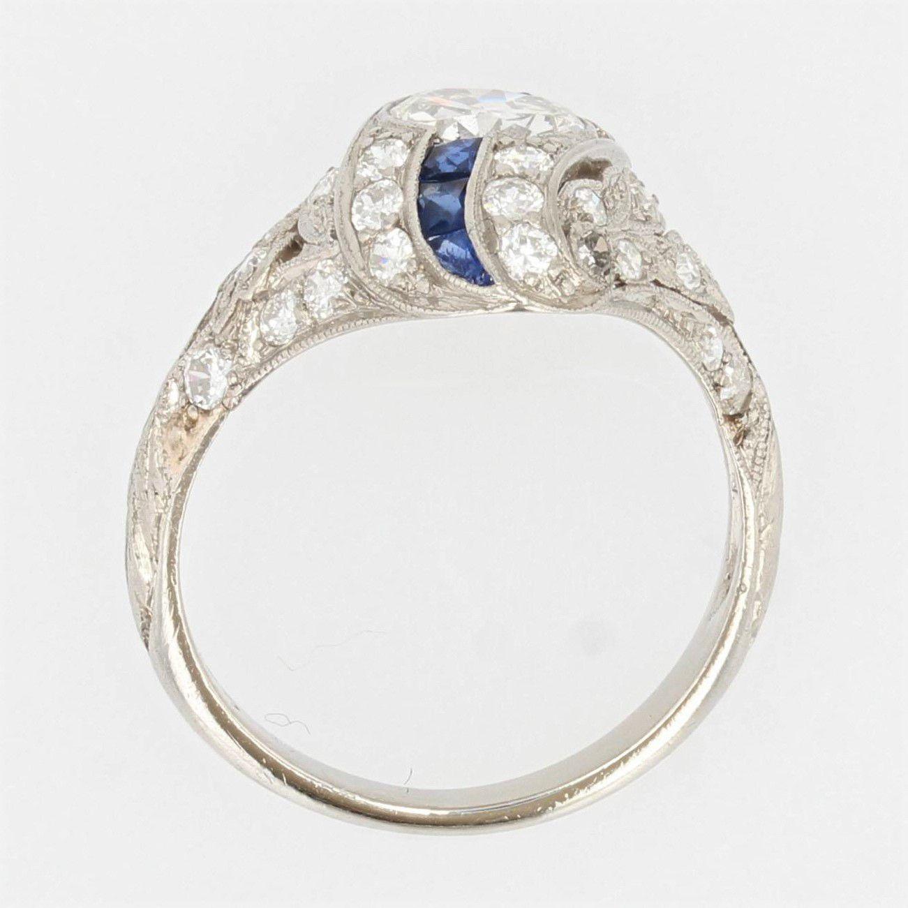 Bague art déco diamants saphirs calibrés