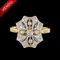 Bague art déco diamants saphirs navettes