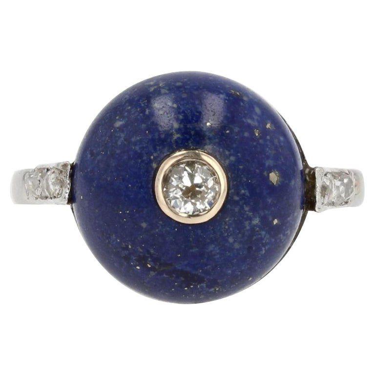 Bague art déco lapis lazuli et diamants