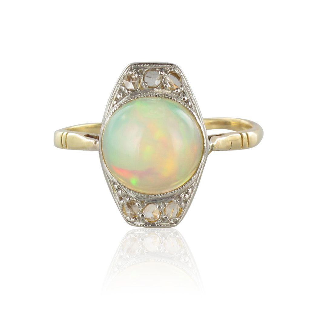 bague art d co opale diamants bague ancienne opale bijouxbaume. Black Bedroom Furniture Sets. Home Design Ideas