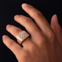 Bague Art Déco pavée de diamants