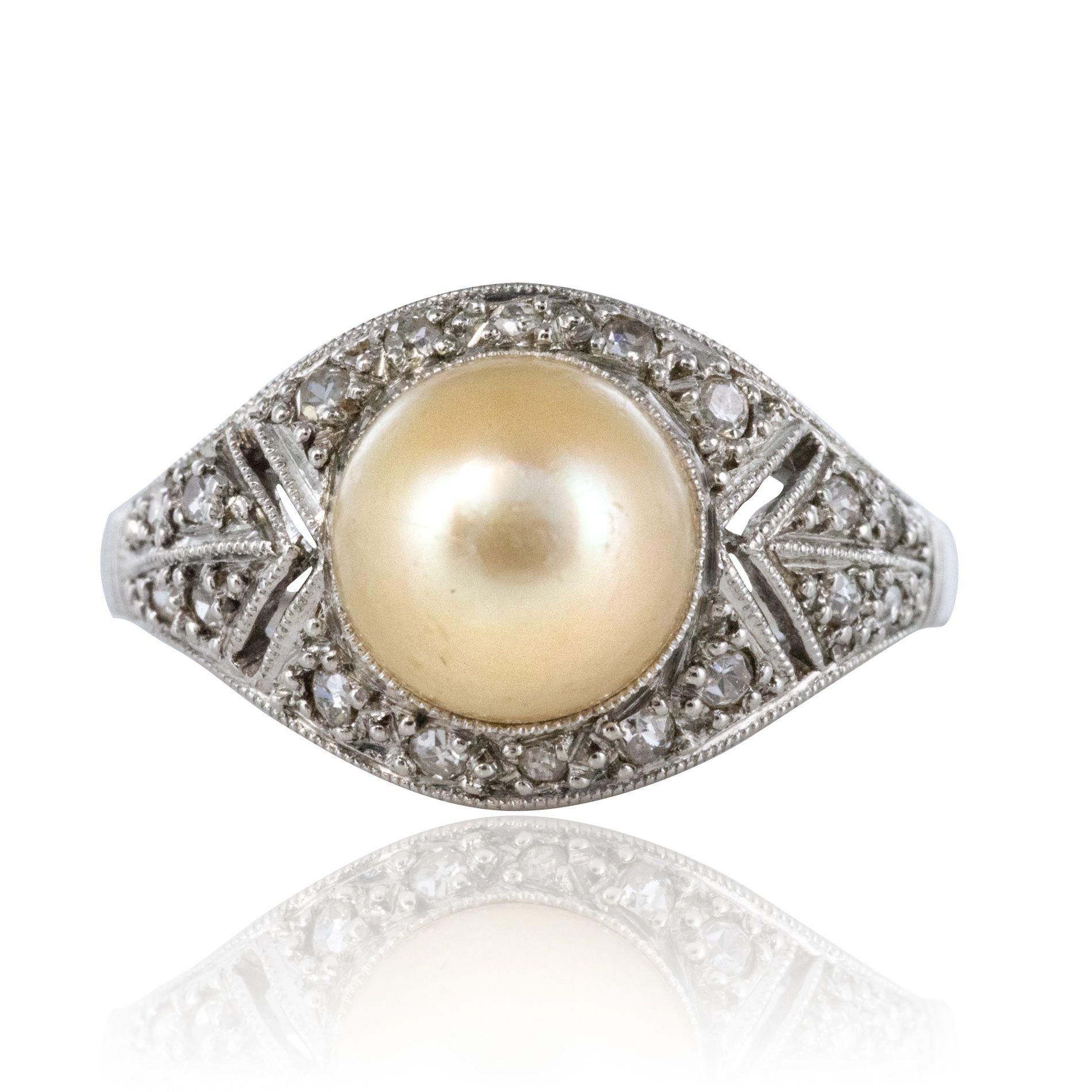 Bague art déco perle fine diamants