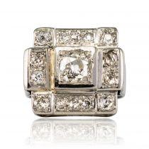 Bague art déco platine diamants carrée