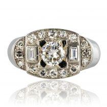Bague Art déco Platine Or blanc Diamants