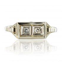 Bague art déco rectangulaire diamants