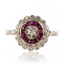 Bague Art Déco rubis et diamants ronde