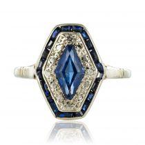 Bague art déco saphir diamants hexagonale