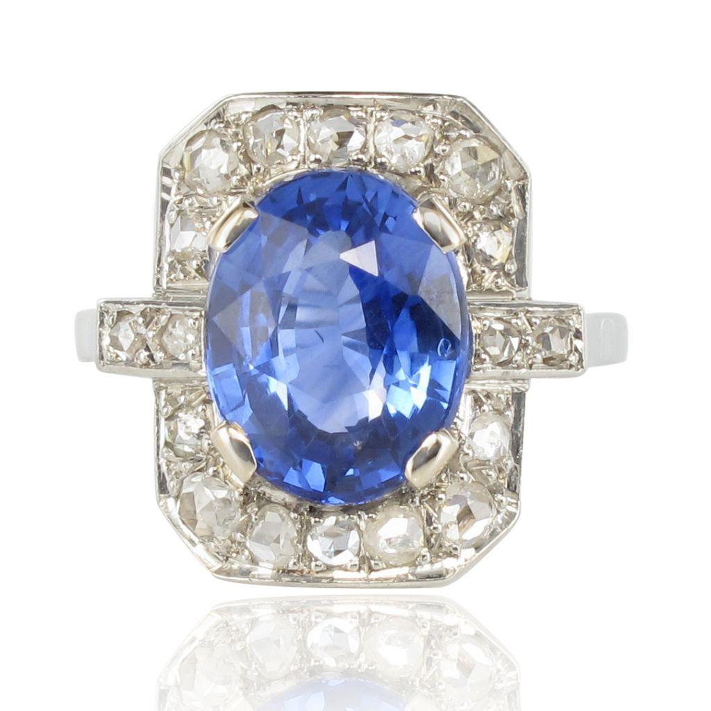 3205d339818 Bague Art déco Saphir Diamants - Bague de fiançailles saphir ...