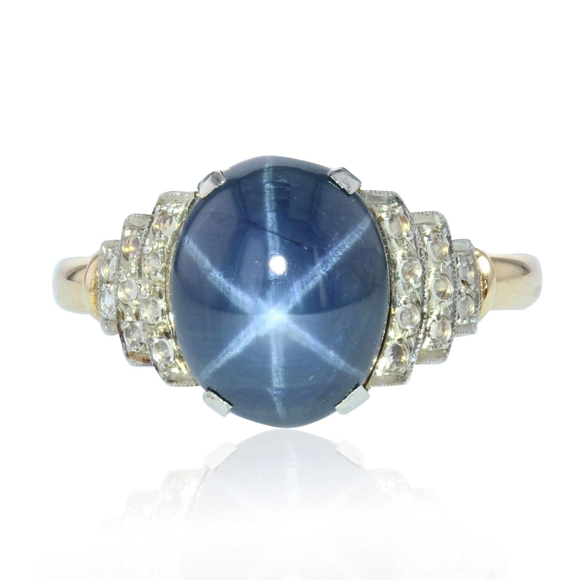 Häufig Bague art déco saphir étoilé diamants - Bijou ancien CO51