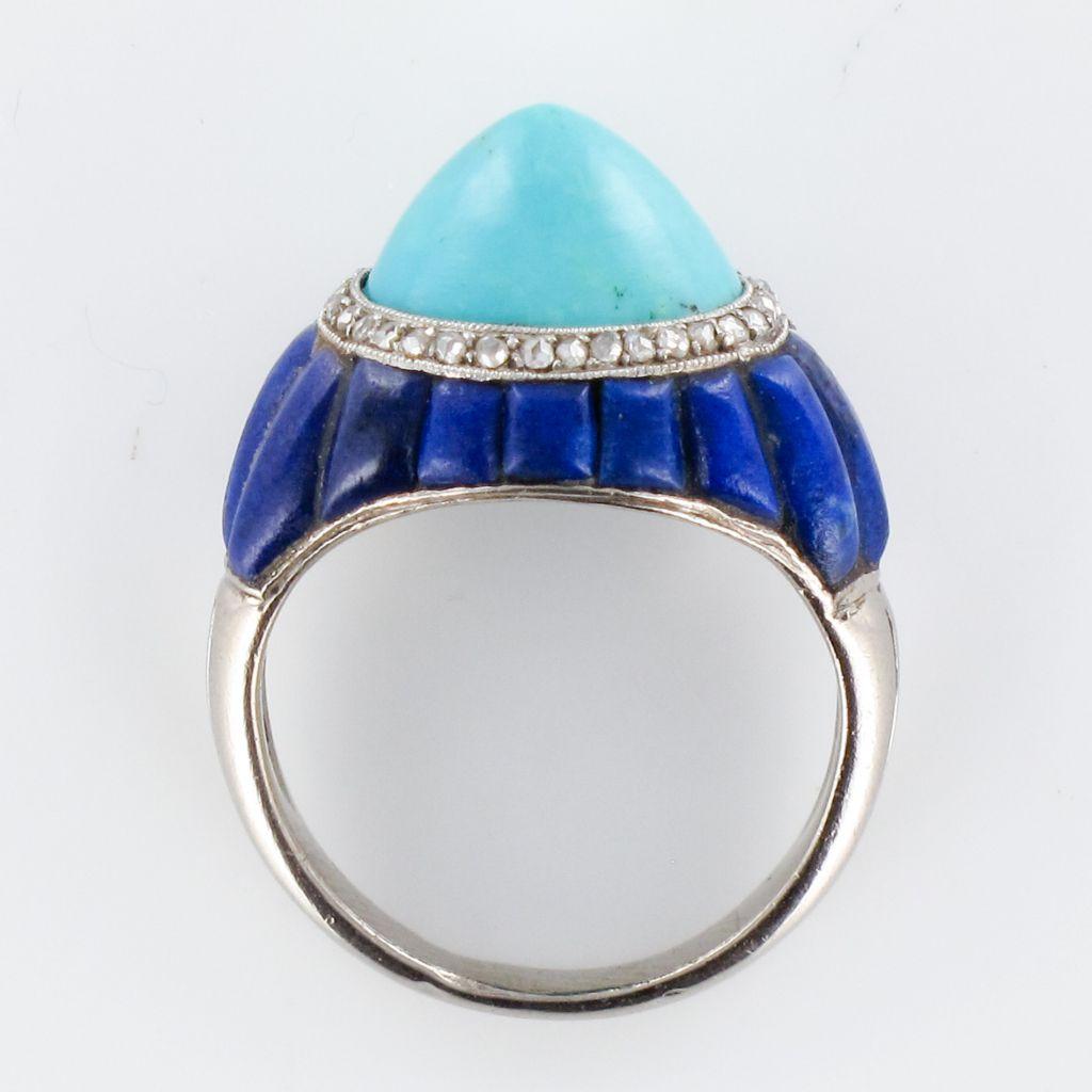 Bague art déco turquoise pain de sucre lapis lazuli diamants