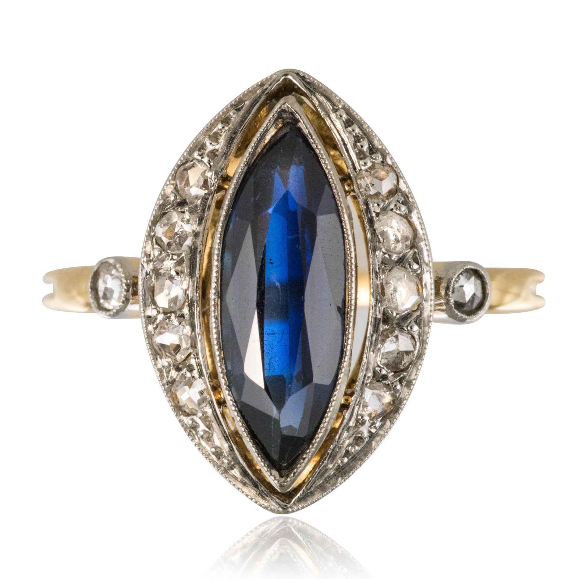 Bague belle époque saphir diamants en marquise