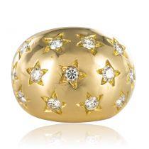 Bague boule diamants en sertis étoilés