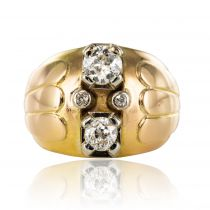Bague boule duo de diamants