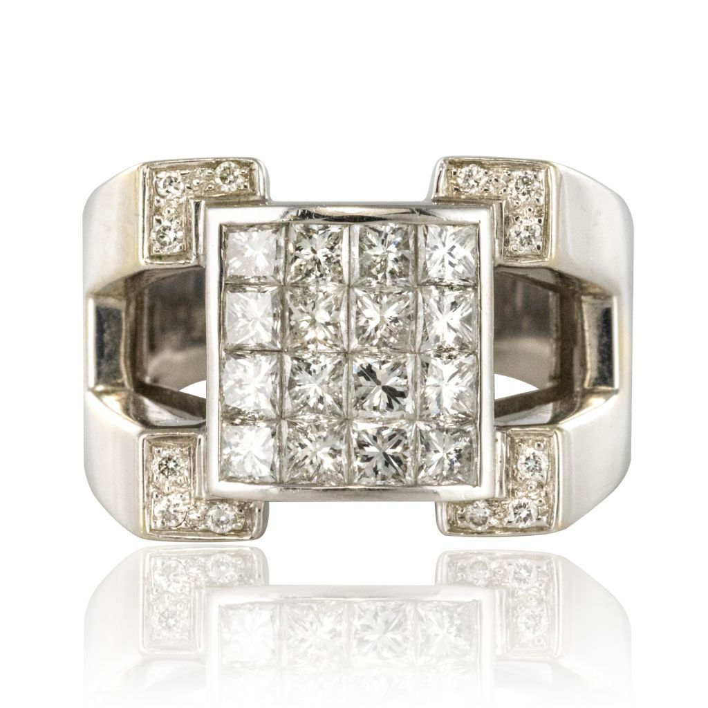 4540000f05e90 Bague Chevalière Diamants or blanc - Bijouxbaume