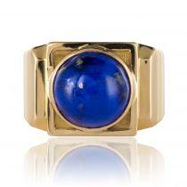 Bague chevalière or lapis lazuli