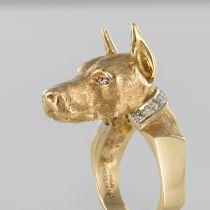 Bague chien et son collier diamants